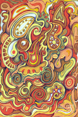 Warm Colors Drawing - Spicy by Carolyn Alston Thomas