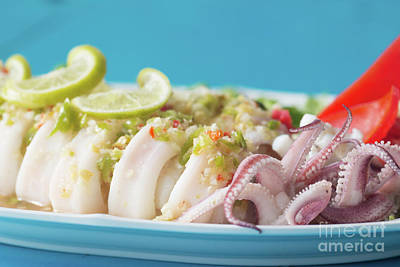 Squids Photograph - Spicy Food, Steamed Squid by Atiketta Sangasaeng