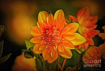 Royalty Free Images Painting - Spider And Flower In Ambiance by Catherine Lott