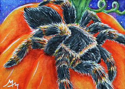 Painting - Spider And Pumpkin by Monique Morin Matson