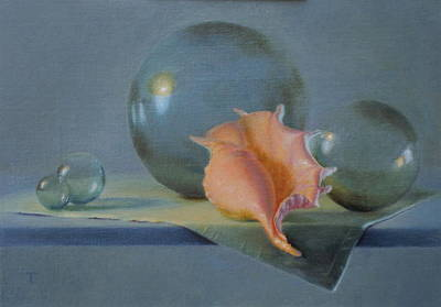 Wall Art - Painting - Spider Conch Shell With Japanese Fishing Floats by Amanda Teicher