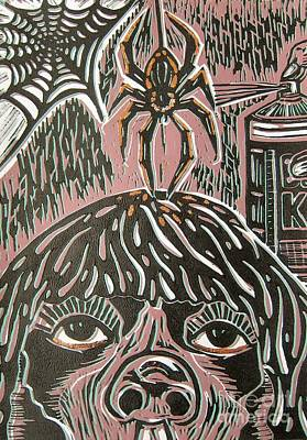 Lino Painting - Spider Fear by Susan Riha Parsley