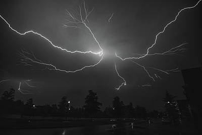 Photograph - Spider Lightning Over Dc In Bw by Jeff at JSJ Photography