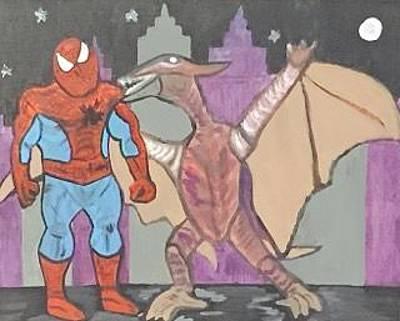 Painting - Spider-man Against Rodan by Jonathon Hansen