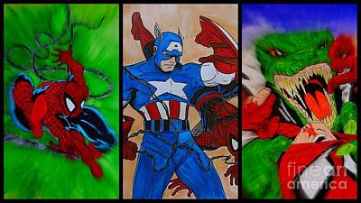 Captain America Drawing Drawing - Spider-man Collage  by Justin Moore