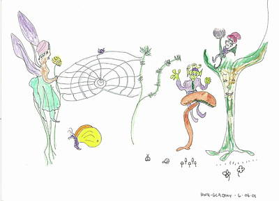 Painting - Spider Web And Fairies by Helen Holden-Gladsky