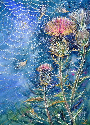 Painting - Spider Web On The Thistle by Zaira Dzhaubaeva