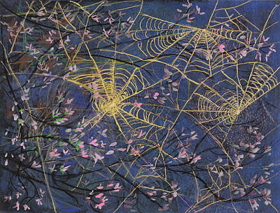 Golden Orb Painting - Spider Webs And Bloosoms by Ethel Vrana