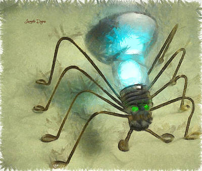 Electricity Digital Art - Spiderlamp - Da by Leonardo Digenio