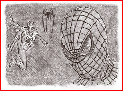 Drawing - Spiderman by Chris DelVecchio