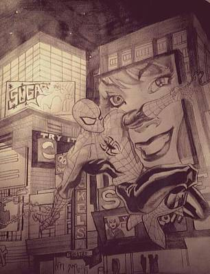 Spiderman Drawing - Spiderman by Heather Blickley