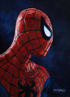 Spiderman Painting - Spiderman Heroic Profiles  by Neil Feigeles