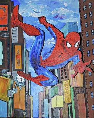 Painting - Spiderman Swings by Nicole Burnett