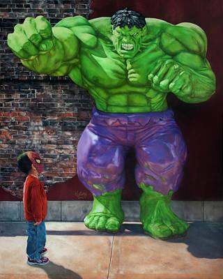 Spiderman Versus The Hulk Original by William Leung