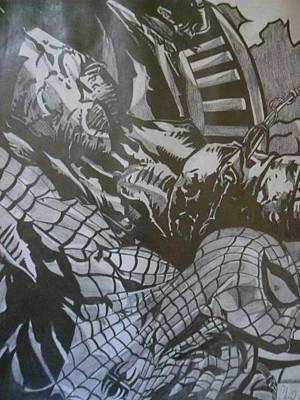 Spiderman Drawing - Spiderman Vs. Dark Moon by Christopher Schell