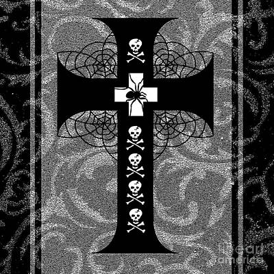 Spiderweb Skull Cross Art Print by Roseanne Jones