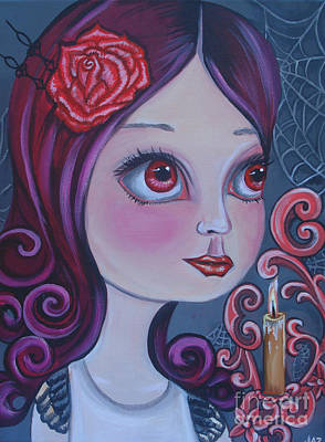 Pop Surrealism Painting - Spiderwebs By Candlelight by Jaz Higgins