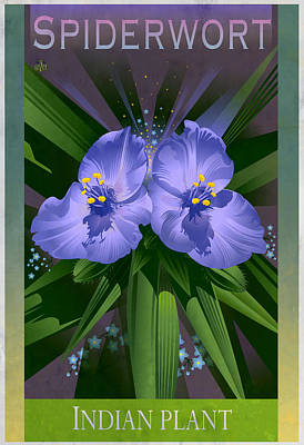 Glazier Painting - Spiderwort Indian Plant Poster by Garth Glazier
