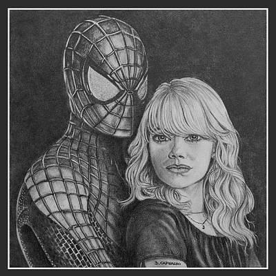 Super Hero Drawings Drawing - Spidey And Gwen by Daniel Carvalho