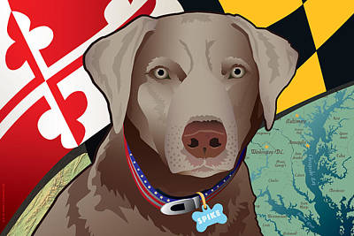 Retriever Digital Art - Spike, The Maryland Silver Lab by Joe Barsin