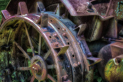Photograph - Spiked Tractor Wheel by James Barber