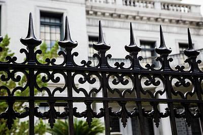 Katharine Hepburn - Spikes on Wrought Iron Fence by Darryl Brooks