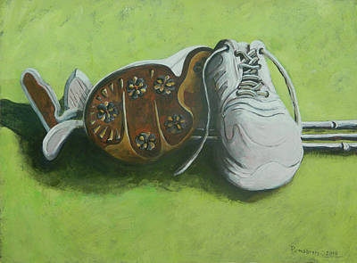 Painting - Spike's Shoes by John Pendarvis