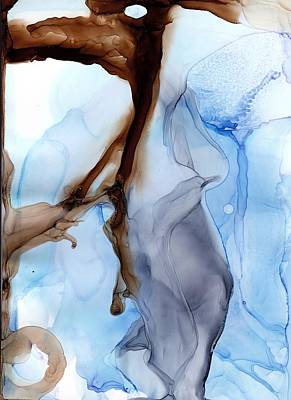 Painting - Blue Brown And Gray Abstract Painting - Spill It by Lake and River Co