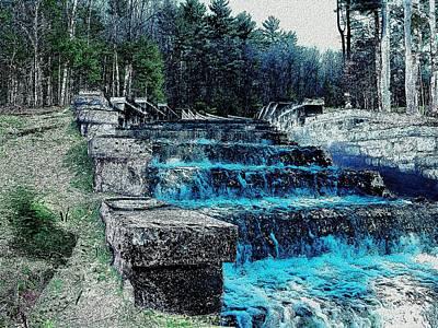 Digital Art - Spillway At Reservoir by Cliff Wilson