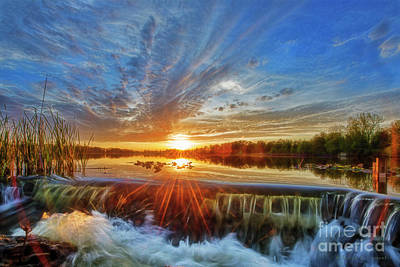 Photograph - Spillway At Sunset by David Arment