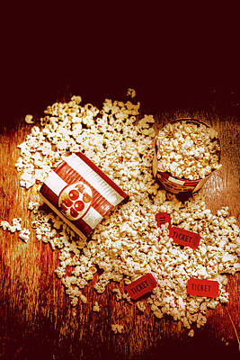 Art Print featuring the photograph Spilt Tubs Of Popcorn And Movie Tickets by Jorgo Photography - Wall Art Gallery