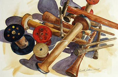 Spindles Painting - Spindles And Spools by Priscilla Patterson