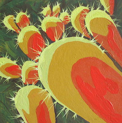 Prickly Pear Painting - Spines 3 by Sandy Tracey