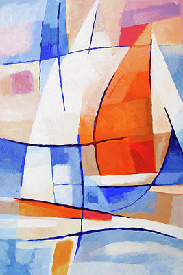 Red Sails Painting - Spinnaker Sailing by Lutz Baar