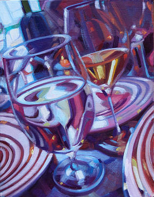 Glass Of Wine Painting - Spinning Plates by Penelope Moore