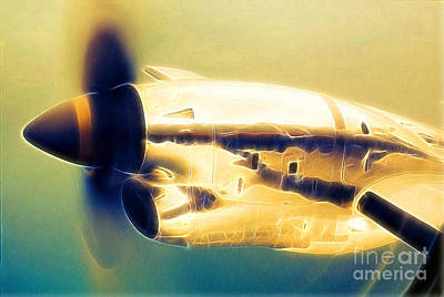 Spinning Propeller Pratt And Whitney Pw118a Turbo-prop In Flight Art Print by Wernher Krutein