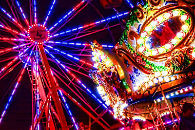 Wheel Thrown Photograph - Night Lights At County Fair by Toni Hopper