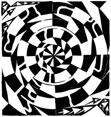 Optical Illusion Maze Drawing - Spinning Tunnel Maze by Yonatan Frimer Maze Artist