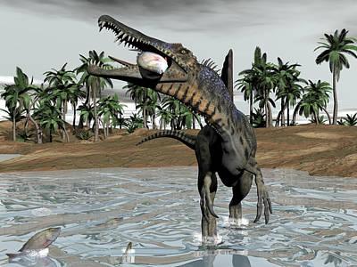 Blue Hues - Spinosaurus dinosaur eating fish - 3D render by Elenarts - Elena Duvernay Digital Art