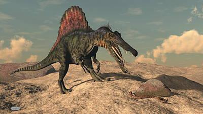Spiny Digital Art - Spinosaurus Dinosaur Hunting A Snake - 3d Render by Elenarts - Elena Duvernay Digital Art