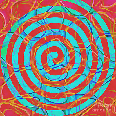 Geometric Artwork Painting - Spiral Abstract 1 by Edward Fielding