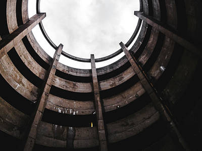 Spiral Architecture Photograph. Looking Up. Art Print by Dylan Murphy