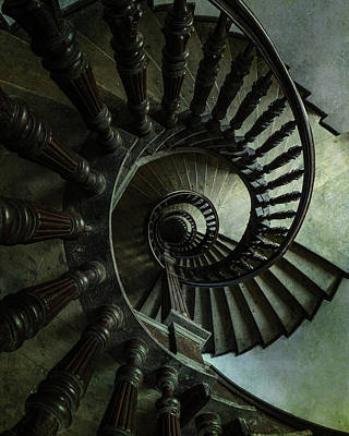 Photograph - Spiral Brown Staircase by Jaroslaw Blaminsky