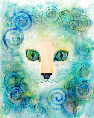 Artistic Painting - Spiral Cat Series - Wind by Moon Stumpp