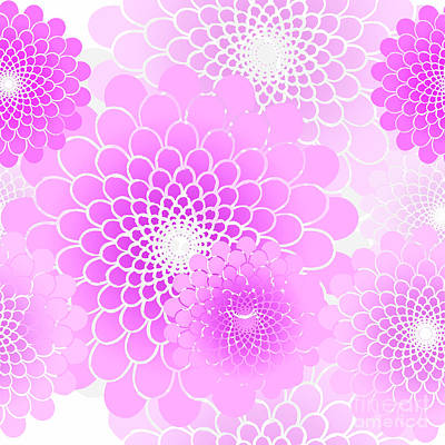 Spiral Flowers Leaves Pattern, Geometric Magenta Pink Floral Art Print