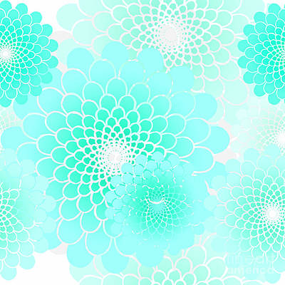 Rain Digital Art - Spiral Flowers Leaves, Turquoise Geometric Floral Pattern by Tina Lavoie