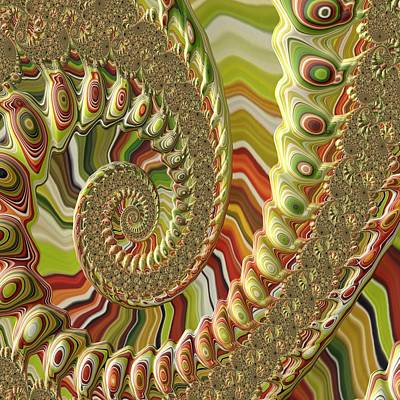 Spiral Fractal Art Print by Bonnie Bruno