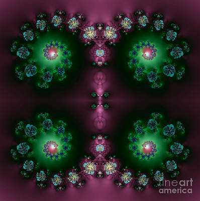 Digital Art - Spiral Galaxies Fractal In Purple And Green by Rose Santuci-Sofranko