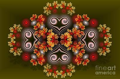 Digital Art - Spiral Hearts And Flowers by Sandra Bauser Digital Art