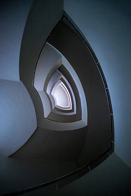 Photograph - Spiral Modern Staircase In Blue Tones by Jaroslaw Blaminsky